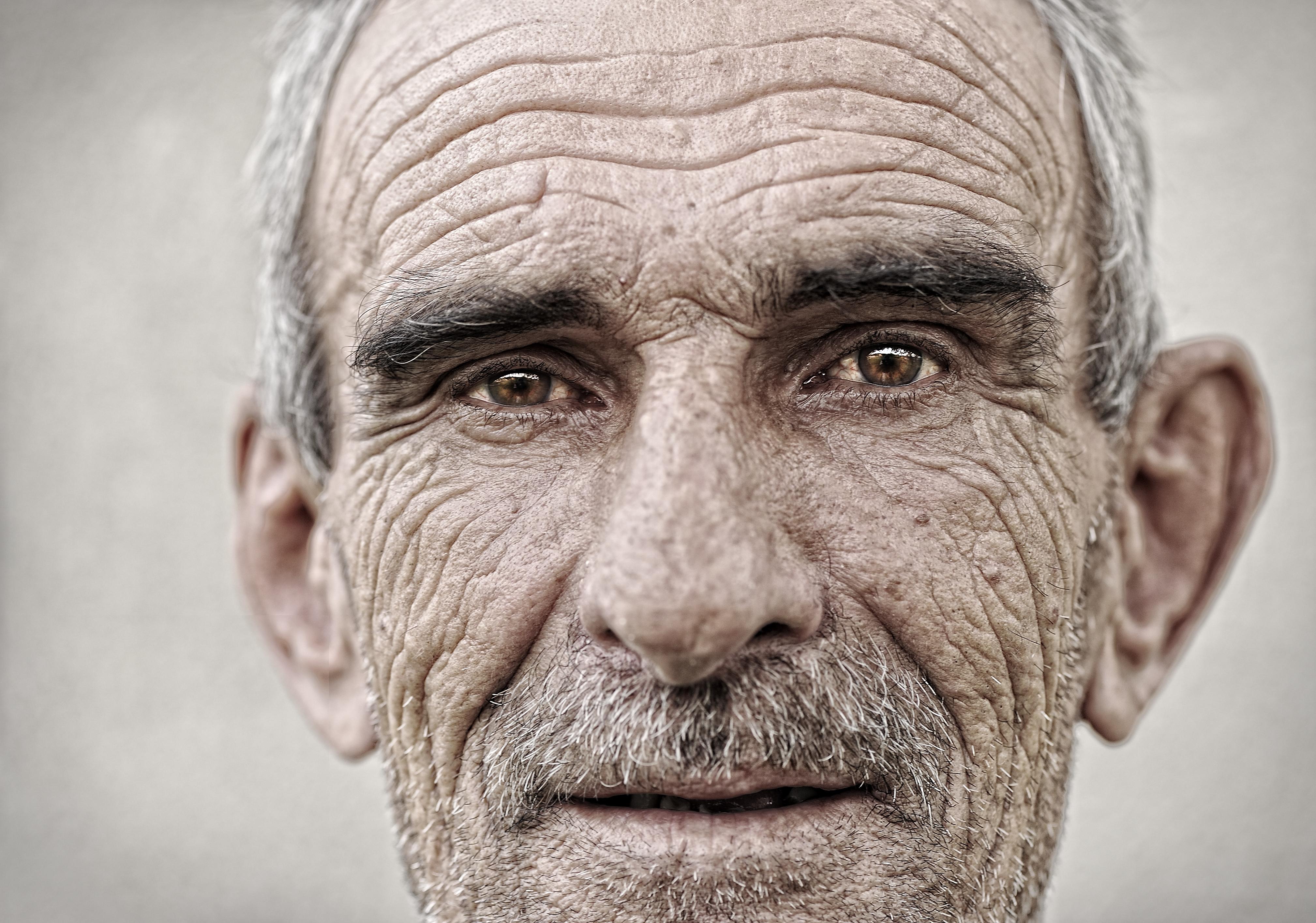 Elderly, old, mature man close up portrait